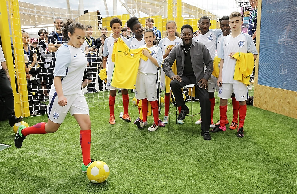 Football legend Pelé interacts with guests during day two of Make the Future London 2016
